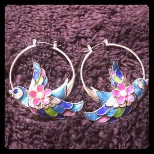Betsey Johnson Tropical Bird Hoops